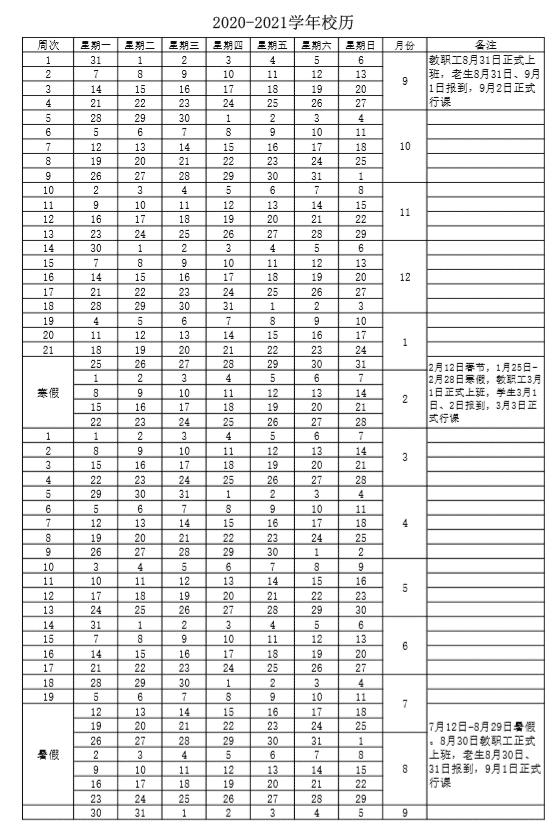 绵阳职业技术学院2020-2021学年校历
